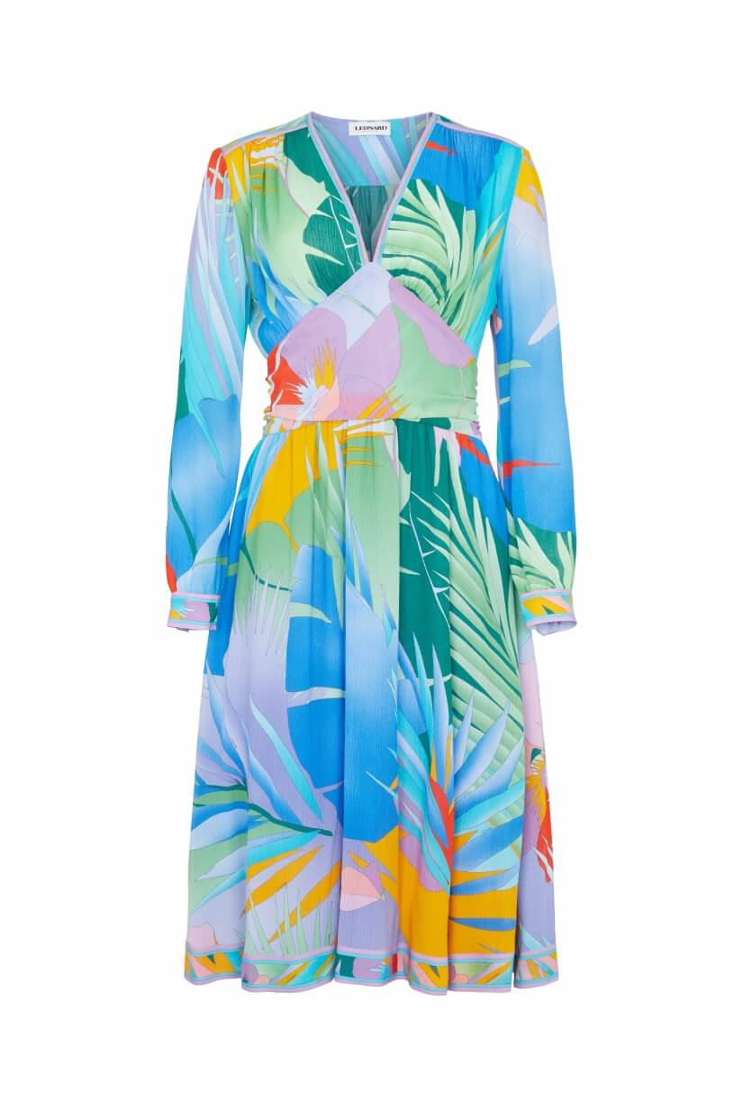 MID-LENGTH DRESS ISOLD  PALM PRINT