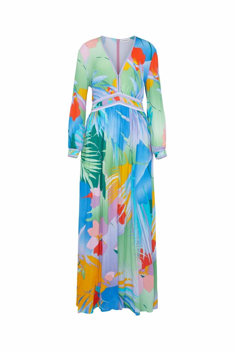 LONG DRESS ISORE PALM PRINT