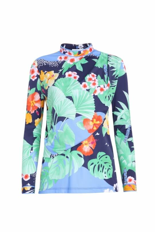 BLOUSE GREEN IN POLYAMID JERSEY PALM PRINT