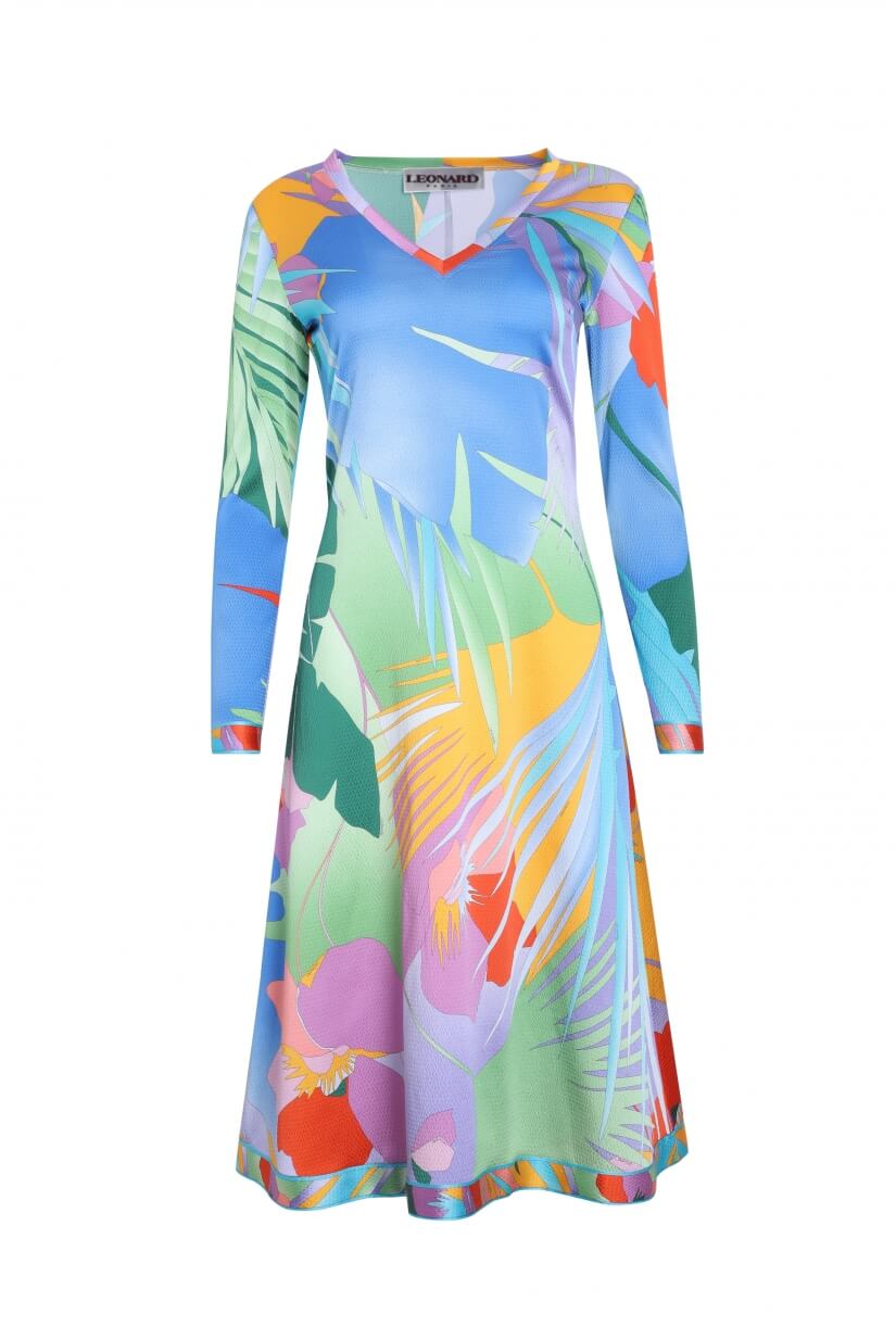 MID-LENGTH DRESS SIERRA IN SILK CREPE PALM PRINT