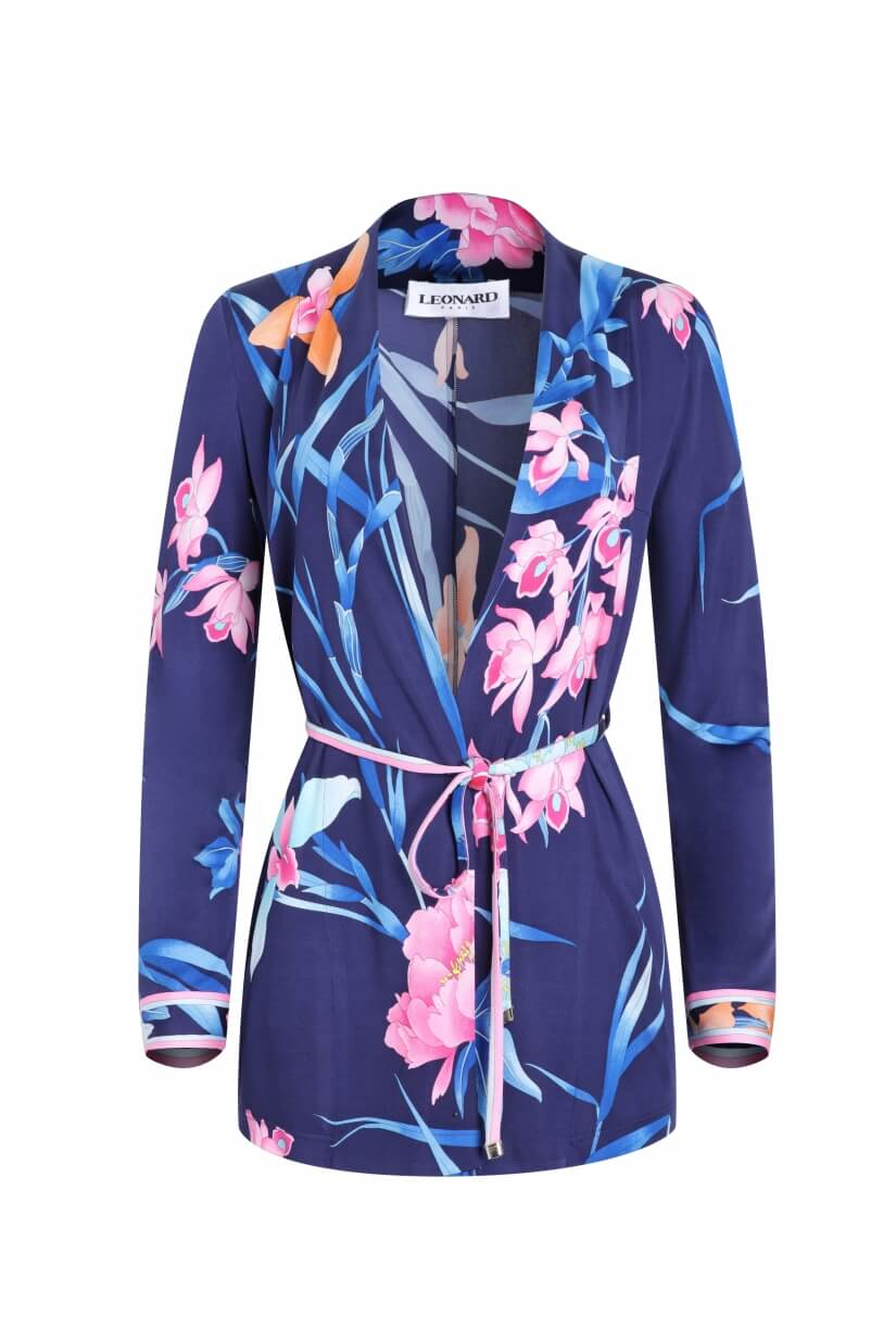 JACKET MOON IN SILK JERSEY FLORAL PRINT