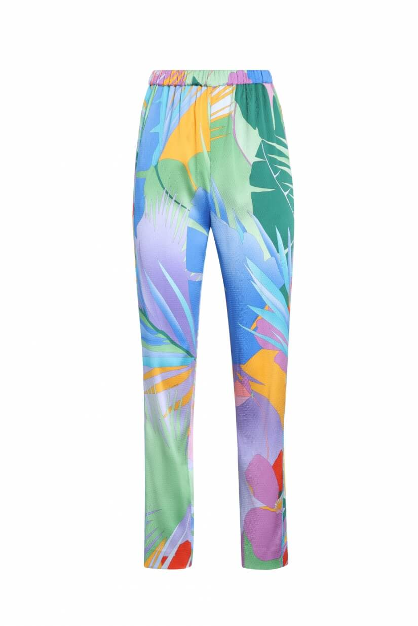 PANTS SARINA IN SILK CREPE PALM PRINT
