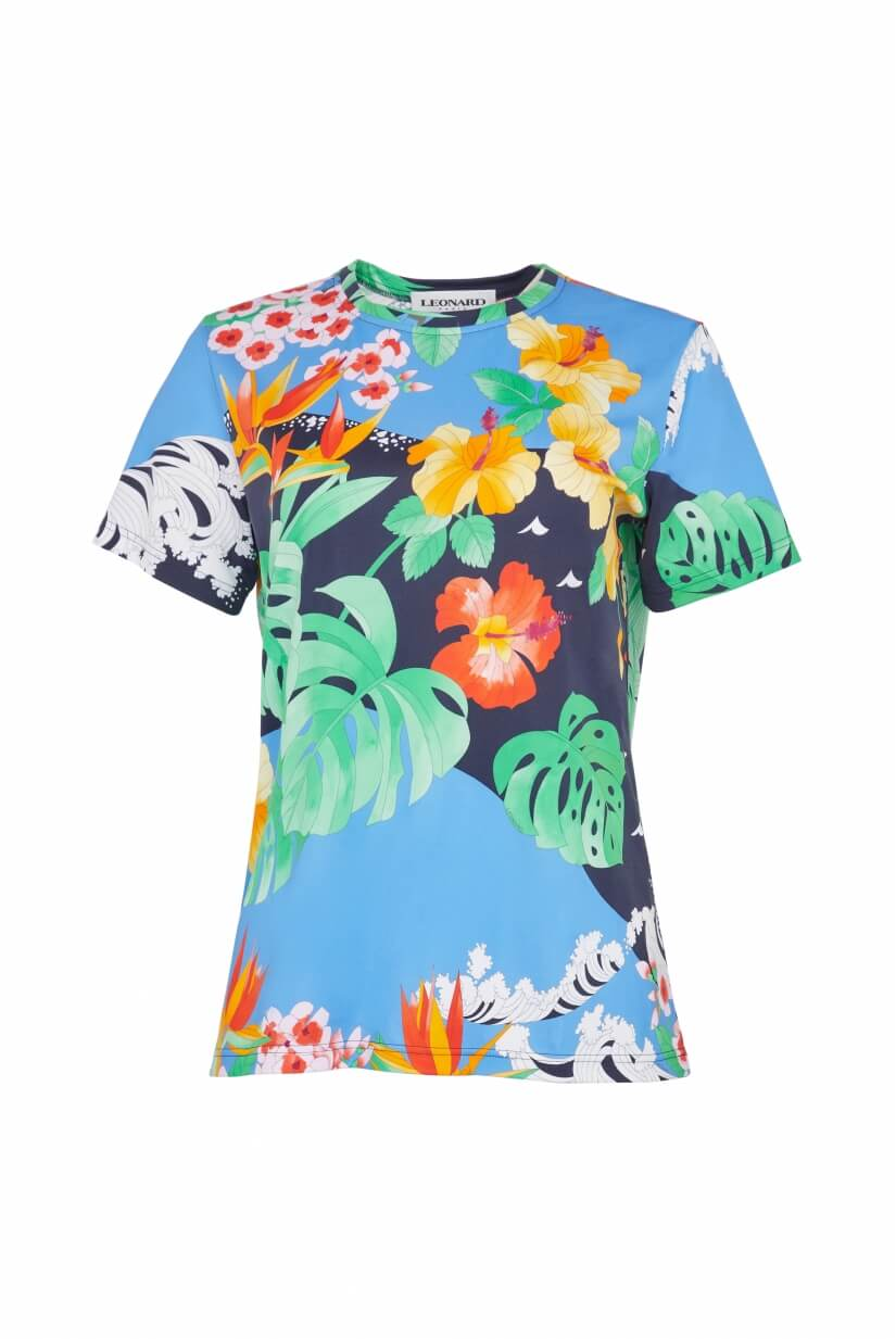 TEE SHIRT GONTRAN IN POLYAMID JERSEY PALM PRINT