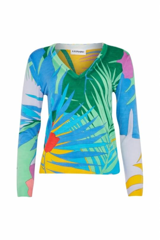SWEAT IN WOOL OASIS PALM PRINT
