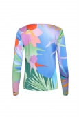 TOP SALTO IN SILK CREP PALM PRINT