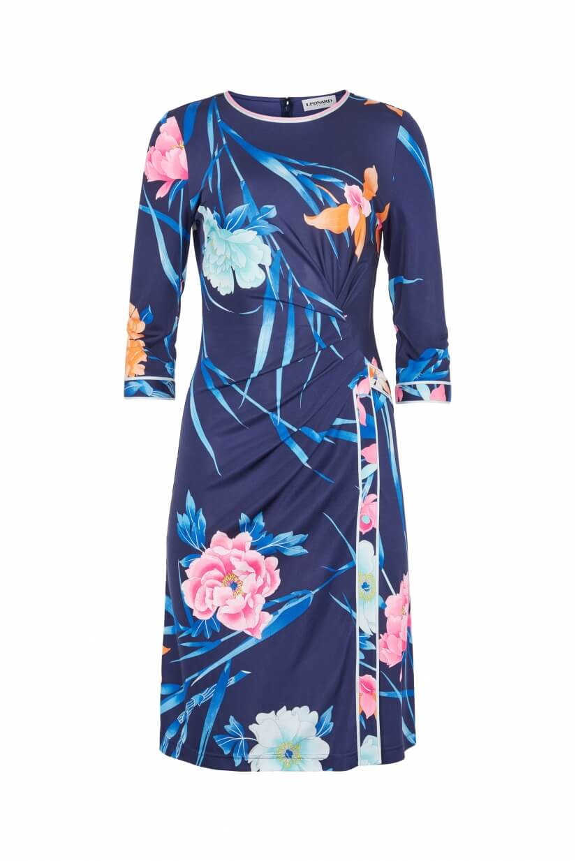 SHORT DRESS MELIA IN SILK JERSEY FLORAL PRINT