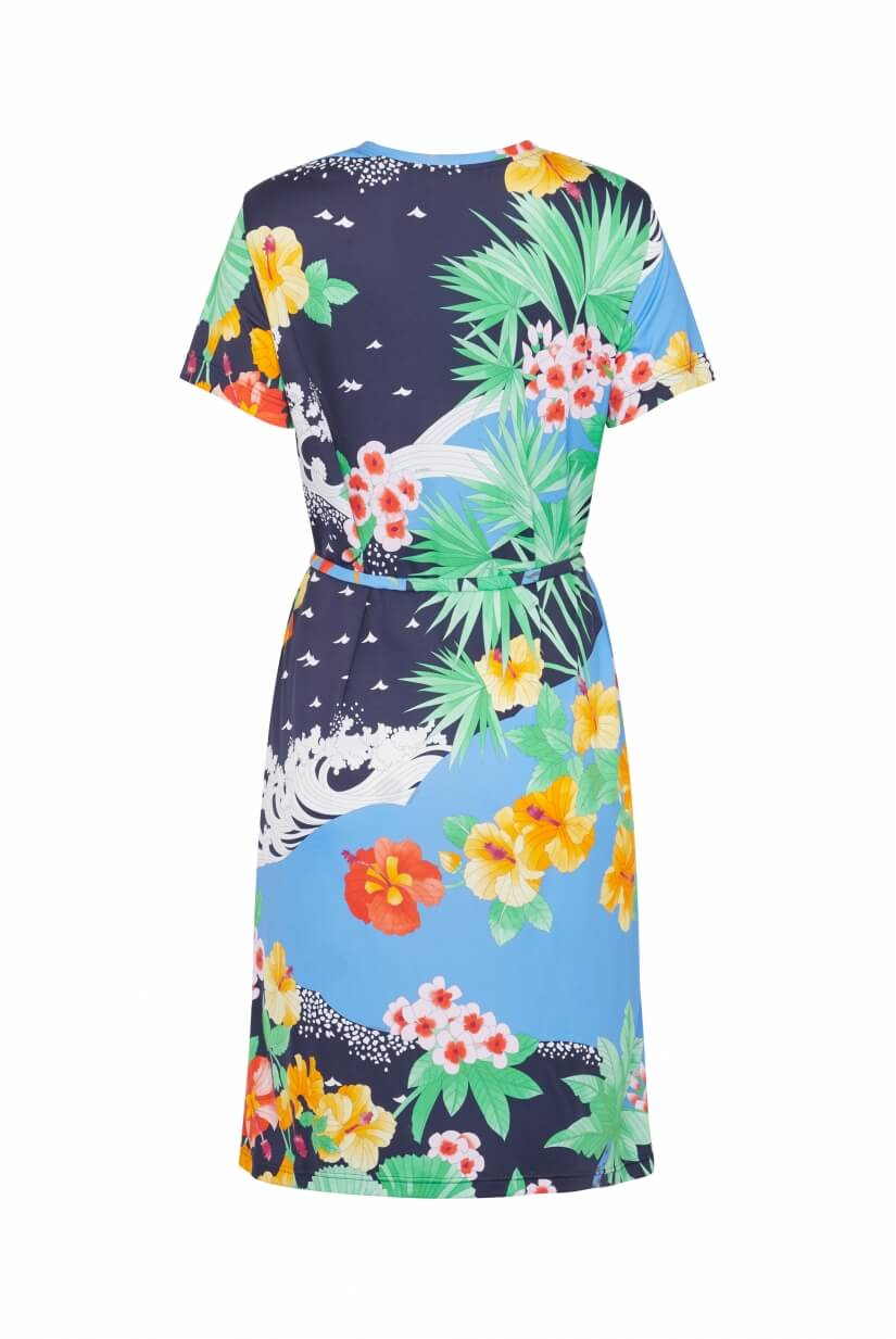 SHORT DRESS GRETTA PALM PRINT