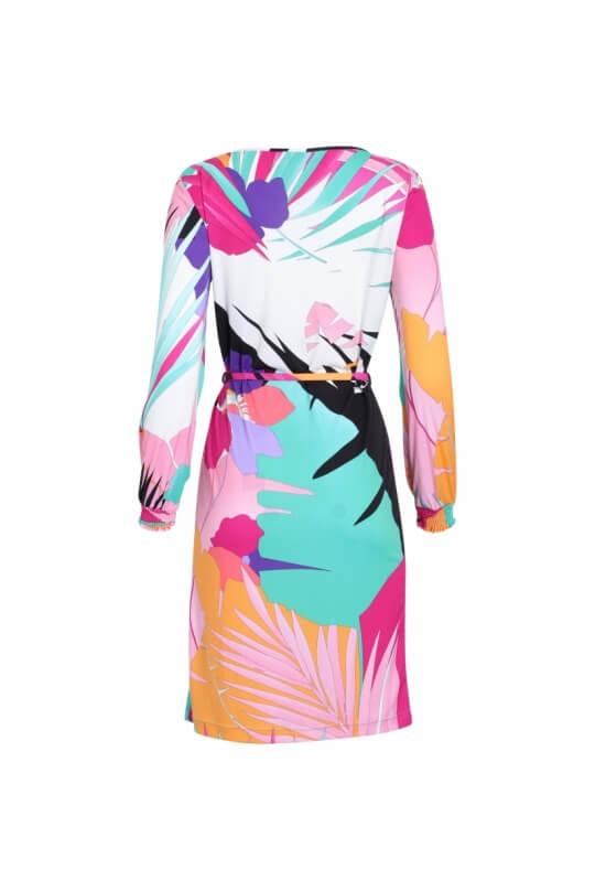 SHORT DRESS GHILAINE IN PALM PRINT