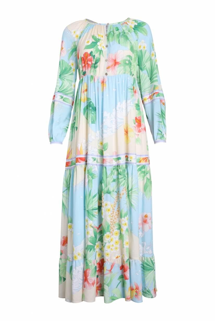LONG DRESS CALANQUES IN VEIL VISCOSE FLORAL PRINT