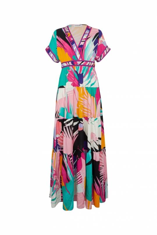 LONG DRESS CARDINA IN VISCOSE VEIL PALM PRINT