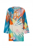 TUNIC FRANCKA IN COTTON AND SILK PALM PRINT