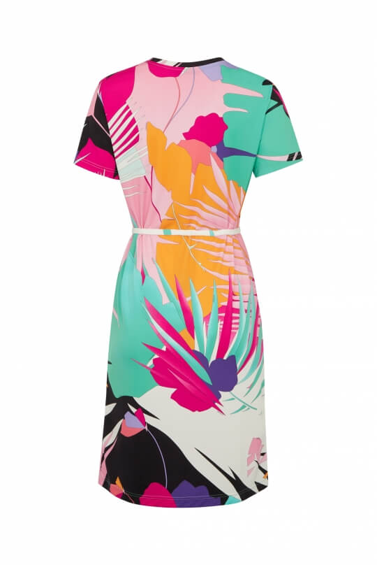 DRESS GRETTA IN POLYAMID JERSEY PALM PRINT