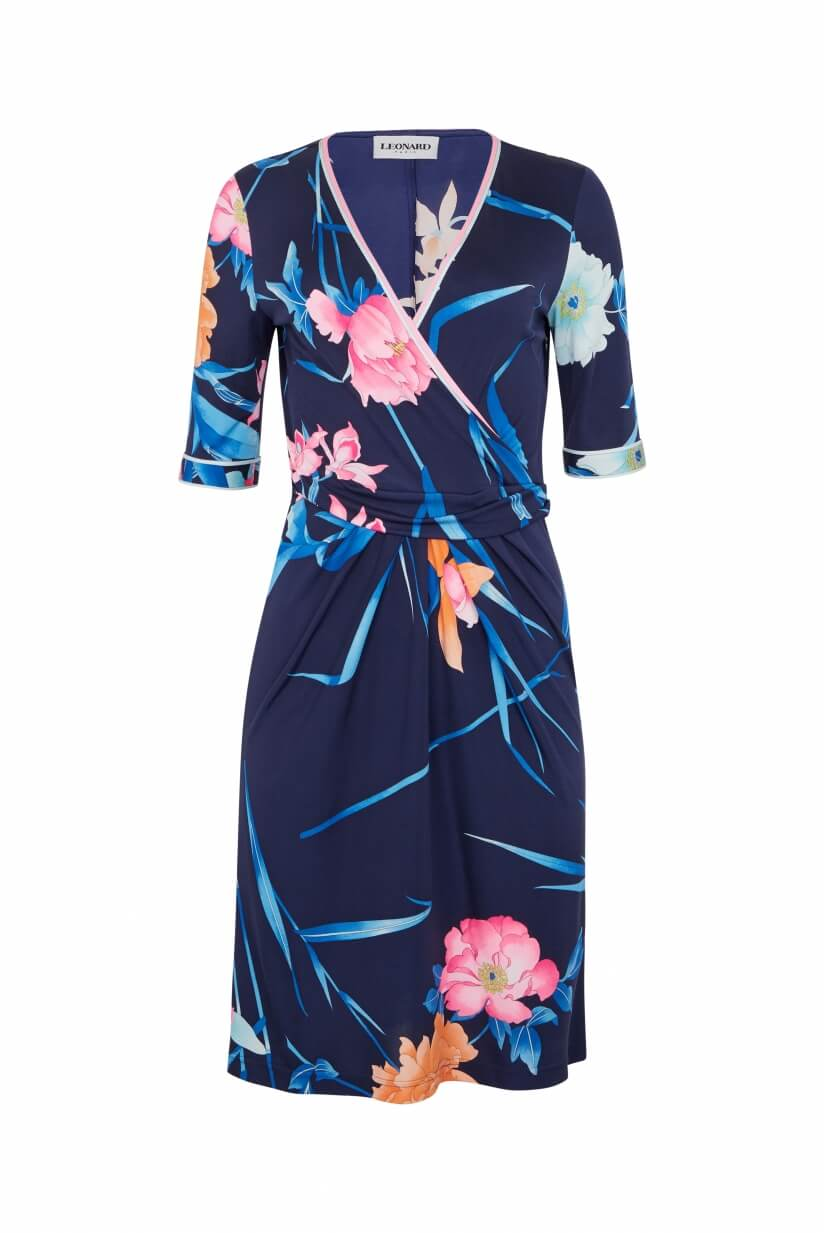SHORT DRESS MAGGY IN SILK JERSEY FLORAL PRINT