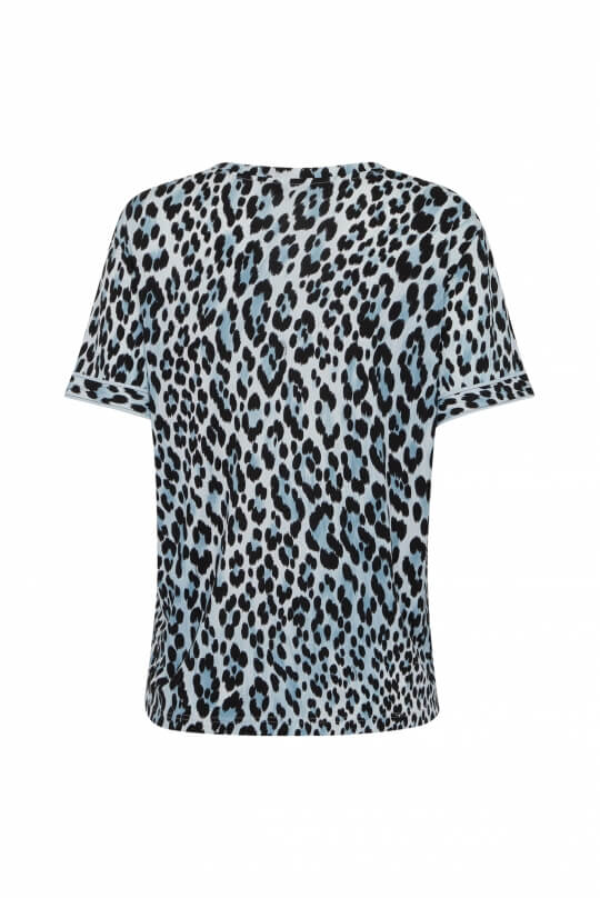 TOP IN SILK JERSEY MARINE LEOPARD PRINT