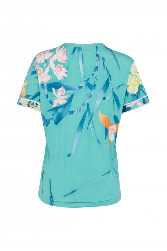 TEE SHIRT SALOME IN SILK JERSEY FLORAL PRINT