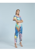 PANTS FAUVE IN COTTON AND SILK PALM PRINT