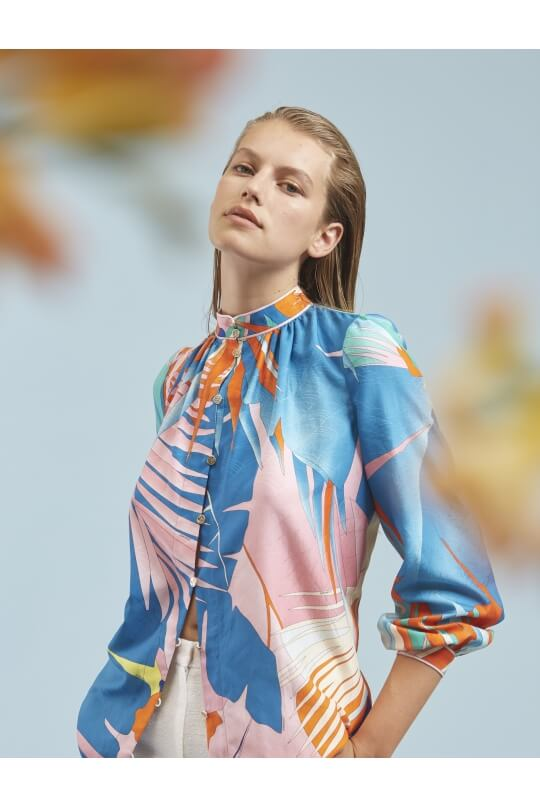 BLOUSE FLORENCE IN COTTON AND SILK PALM PRINT