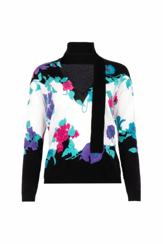 V COLLAR WITH LAVALLIERE SWEATER OEDIPE